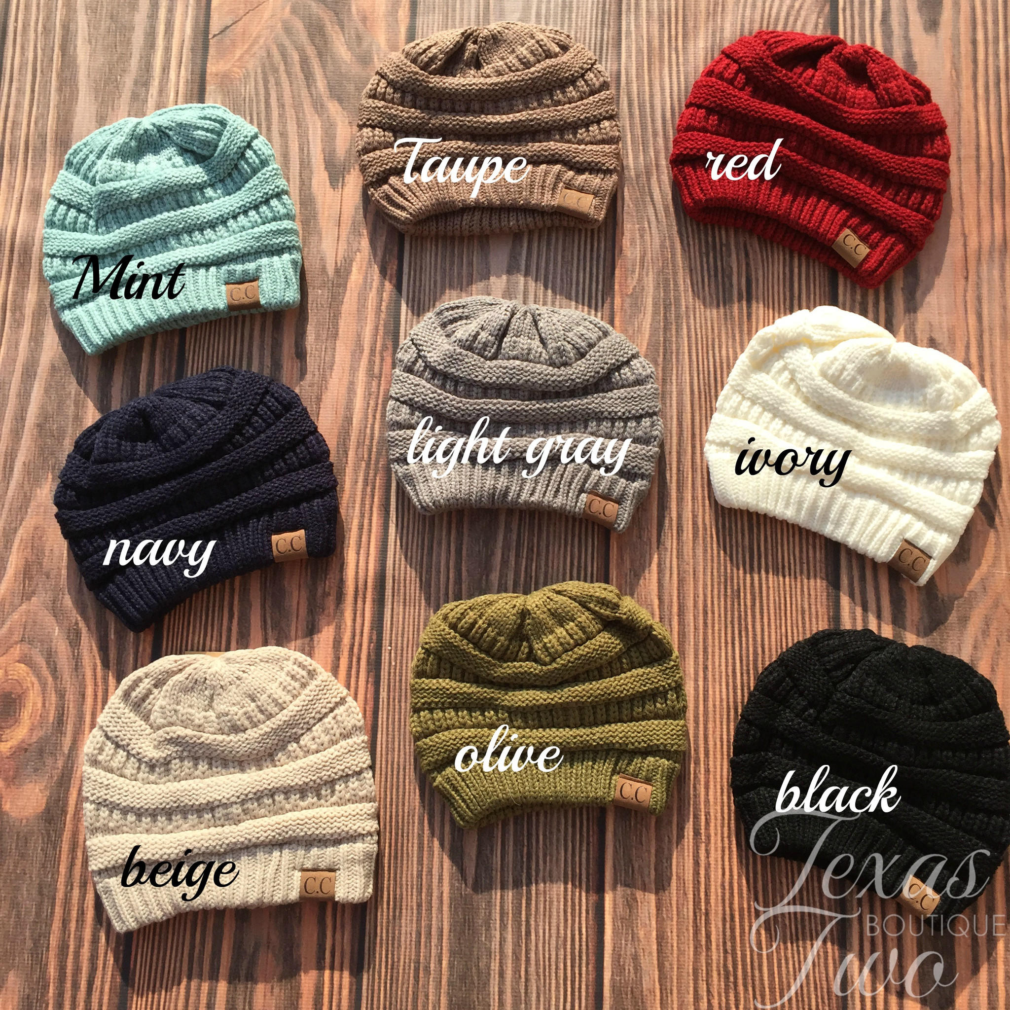 CC Slouchy Knit Beanie (Choose Your from Texas Two Boutique