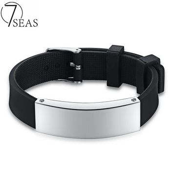 7SEAS 2017 Concise and Classic Silicone Bracelet Blank Polished Engraved Bracelet Black Punk Simple For Man Wrist Jewelry FL1135