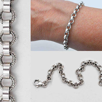 Vintage Italy 925 Sterling Silver Link Bracelet, Belcher Style, Rolo, Smooth & Textured, 3d, Italian Chain, So Unique! #c111