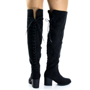 Victoria06S Black By Bamboo, 70's Back Corset Lace Up w High Block Heel Over Knee Boots