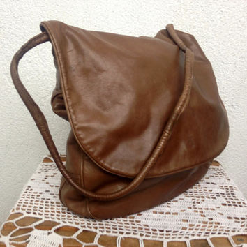 Benno Camenzind Brown Leather Bag, Soft Leather Shoulder Bag, Slouchy Purse, Medium Hobo Bag, Camel Messenger, Foldover Clutch, Urban Bag