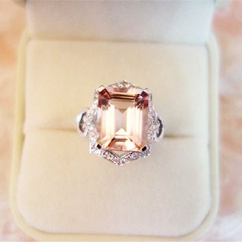 VS 6x8mm Morganite Ring Emerald Cut Morganite Wedding Ring Diamond Engagement Ring Solid 14K White Gold Ring Jewelry Gemstone Ring