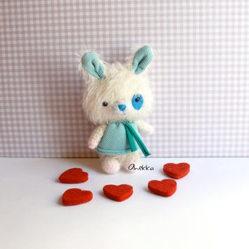 Little bunny plush, Bunny mohair plush toy , mohair animal,bunny, Amigurumi mohair,