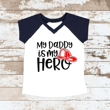 Daddy Is My Hero Fireman Navy Raglan Short Sleeve