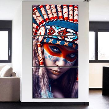 Charming Native American Indian Girl Print Wall Art On Canvas 3 Panel Pic