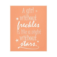 A Girl without Freckles, Night without Stars Canvas Print