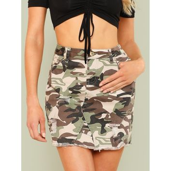 Camo Print Distressed Mini Skirt with Raw Hem OLIVE