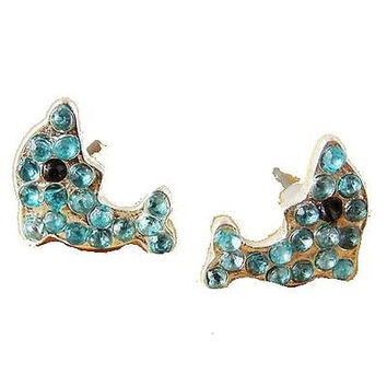 Dolphin with Blue Crystals Girls Post Earrings . NEW