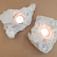 Crystal Candle Holder Pair, Natural Raw Crystal Cluster Candle Holders (K)