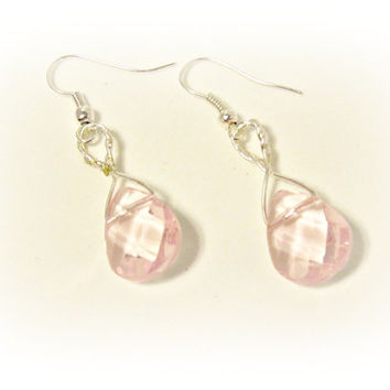 Wire Wrapped Pink Glass Drop Earrings