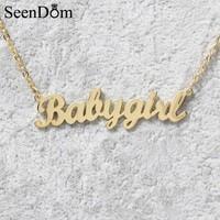 """Lovely Gift Gold Color """"Babygirl"""" Name Necklace Stainless Steel Nameplate Choker Handwriting Signature Necklace For Girls"""