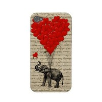 Elephant holding heart balloons iphone 4 case-mate case from Zazzle.com