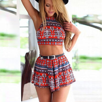 New 2015 women crop top and Shorts 2 PIEC sexy Backless Bandage women's sport suit red and blue sports suit for women