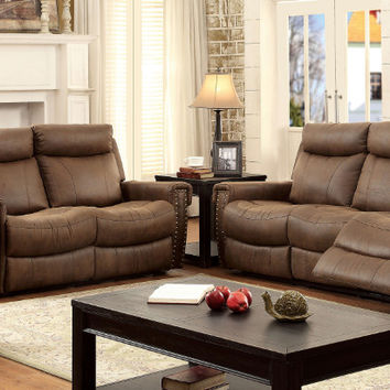 CM6264 2 pc geddes brown fabric sofa and love seat with recliner ends nail head trim