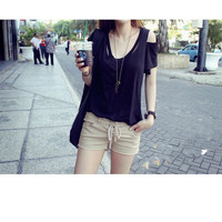 Solid Color Cut-Out Shoulder Tee