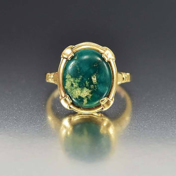 Vintage Art Deco Gold Green Turquoise Ring