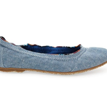 TOMS Light Navy Chambray Youth Ballet Flats Blue