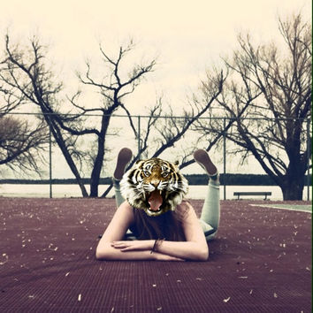 Animal girl. Punk tumblr themed photograph. Girl with a tiger head.