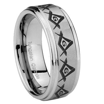 8mm Masonic Square and Compass Step Edges Brushed Tungsten Carbide Mens Anniversary Ring