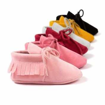 US Baby Boy Girl Crib Shoes Infant Toddler Tassel Leather Shoes Cotton Moccasin