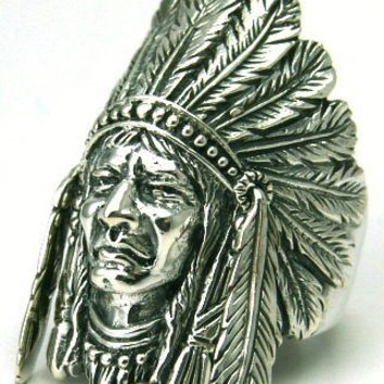 Indian Chief Size 8 Sterling Silver Ring Moving Feather