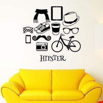 Wall Decal Hipster Fashion Glasses Hat Moustache Gadget Vinyl Stickers Unique Gift (ed114)