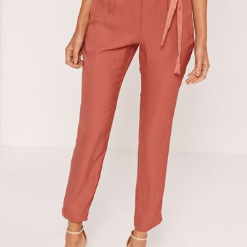 Missguided - Satin Tie Waist Cigarette Trousers Pink