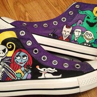Nightmare Before Christmas Hand Painted Converse High Tops