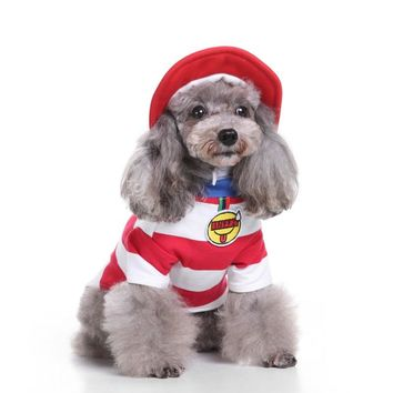 2017 Christmas Puppy Red White Stripe Costume Collections Holy Hound Dog