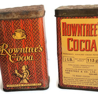 Set Of Two Vintage Metal Cocoa Box Rowntree's  1950'