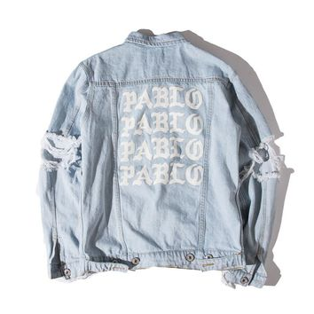 2017 Autumn Winter White Print PABLO Classic Outwear American Men Motorcycle denim Jacket Coat Frayed broken Hole Cowboy Clothes