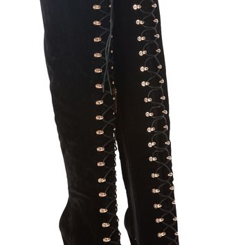 Black Faux Suede Thigh High Lace Up Peep Toe Boots @ Cicihot Boots Catalog:women's winter boots,leather thigh high boots,black platform knee high boots,over the knee boots,Go Go boots,cowgirl boots,gladiator boots,womens dress boots,skirt boots.