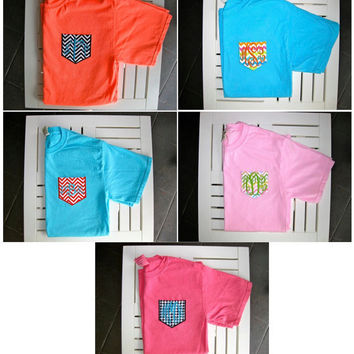 Monogrammed Comfort Colors Fabric Pocket Tee