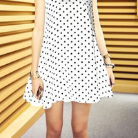 White Sleeveless Polka Dot Dress
