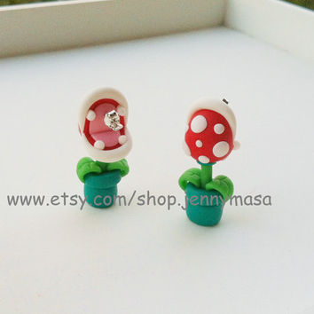 Creative Art Earrings,Nintendo Super Mario YOUCH Piranha Plant Earrings, Chomper Earring, funny , interesting ,cute earrings, gift,childhood