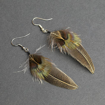 Brown feather earrings, native american earring, natural feather earring, boho earring, small earrings, hippie earrings, indian earrings