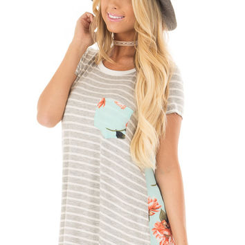 Heather Grey Striped Top with Floral Print Detail