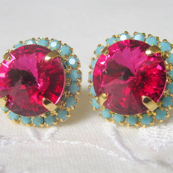 Pink and turquoise Swarovski crystal large stud earrings, Bridesmaid earrings, Crystal Ruby and mint stud earrings, Bridal earrings