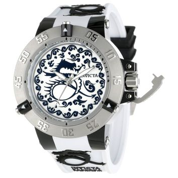 Invicta 11539 Men's Subaqua Noma III Artist Dragon White Dial Rubber Strap Dive Watch