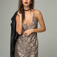 Purpura Dress in Glitter Sequin Antique Gold by Motel