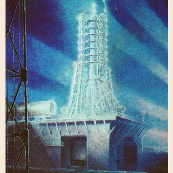 Night Before the Start (Artist A. Sokolov) Vintage Postcard - Printed in the USSR, «The Fine Arts», Moscow, 1980