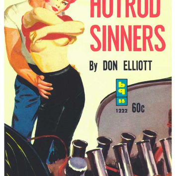 Hot Rod Sinners 11x17 Retro Book Cover Poster