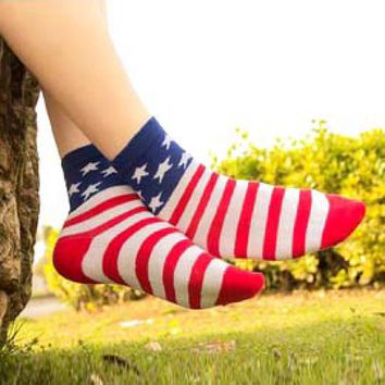 American USA Flag Star and Stripes Print Long Cotton Socks for Women | DOTOLY