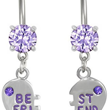 14g Surgical Steel Set of Best Friend Matching Purple Gem Dangle Heart Belly Button Rings