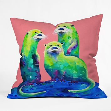 Clara Nilles Margarita Otters On Fresh Melon Throw Pillow