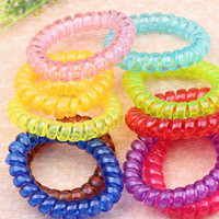 10 PCS/lot Women Girls Ladies Hair Bands Black Colorful Elastic Rubber Telephone Wire Style Hair Ties  Plastic Rope Hairband