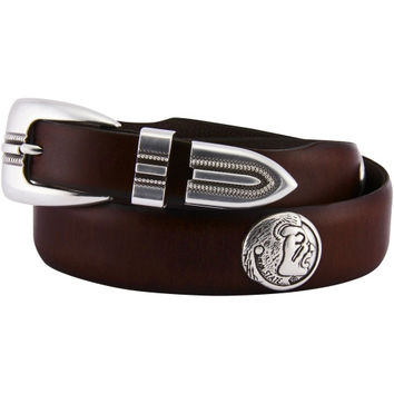 Florida State Seminoles :FSU: Saddle Leather Tapered Logo Concho Belt - Brown