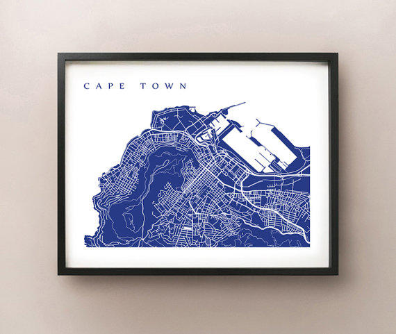 Cape Town Map Art Print South Africa From Cartocreative