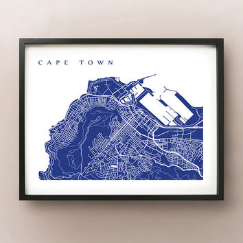 Cape Town Map Art Print - South Africa poster