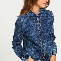 Acid Wash Zip Bomber Jacket
